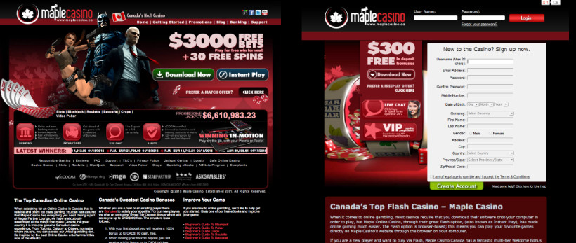 Maple Casino and Instant Casino